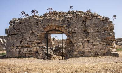 Main entrance to public baths at Aptera, Crete