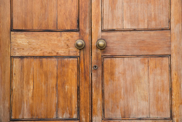close up of a solid wooden door.