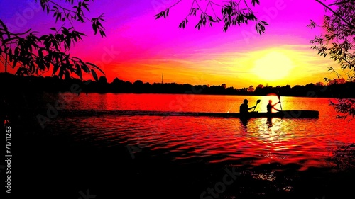 canvas print picture Sonnenuntergang am See