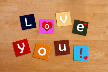 Love You ! Sign in letters for romance, love and relationships.