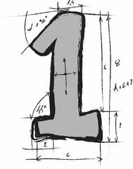 doodle concept symbol number 1