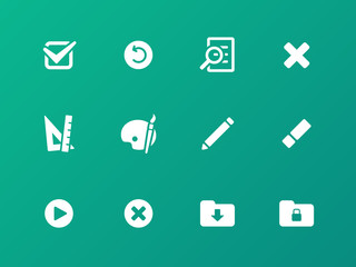 Application interface icons on green background.