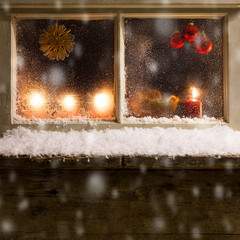 christmas decoration on a window 33