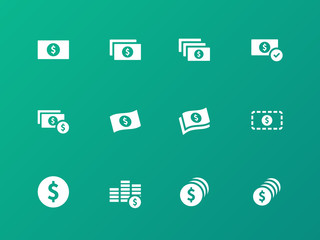 Dollar Banknote icons on green background.