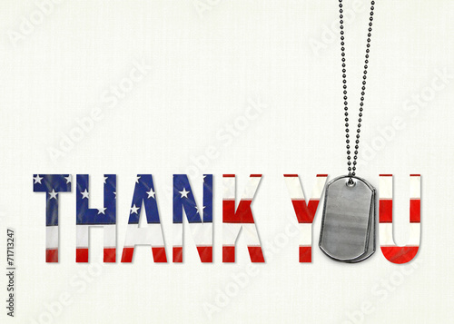 Military thank you with dog tags - 71713247