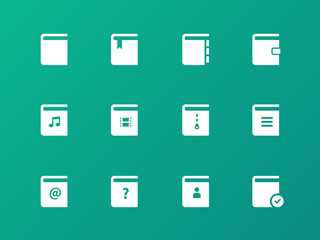 Book icons on green background.