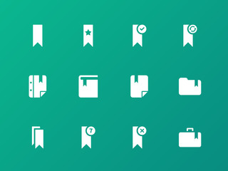 Bookmark, tag, favorite icons on green background.