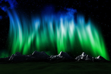 Mountain landscape with Northern lights sky