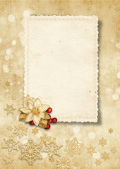 Christmas vintage background with old card