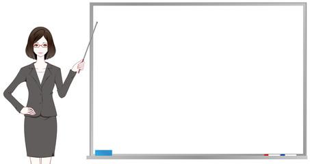女性 会社員 ホワイトボード