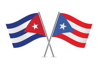 Cuban and Puerto Rican flags. Vector illustration.