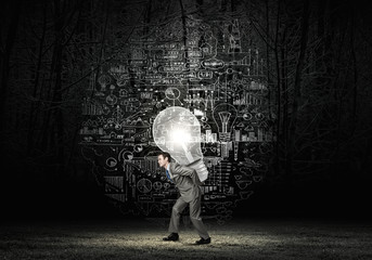 Man carrying bulb