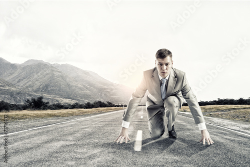 canvas print picture Businessman at start
