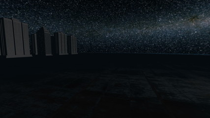 Skyscrapers over cement island with black fog at night