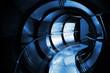 Abstract underground industrial sewerage. Dark blue metal tunnel
