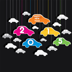 colorful new year 2015 greeting design with car theme vector