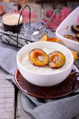 rice pudding with caramel vanilla plums