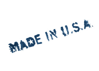 Made in USA. Blue painted label on white background