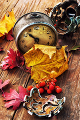 old clock on the background of fallen leaves