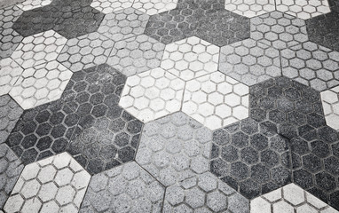 Gray honeycomb cobblestone pattern, background texture