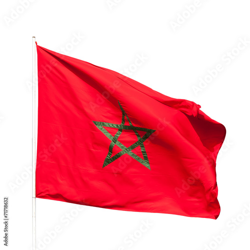 Papiers peints Maroc National flag of Morocco isolated on white background