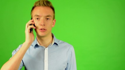 man - green screen - portrait - man on the phone - studio