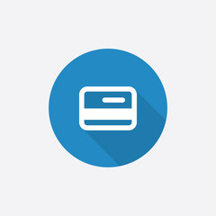 credit card Flat Blue Simple Icon with long shadow.