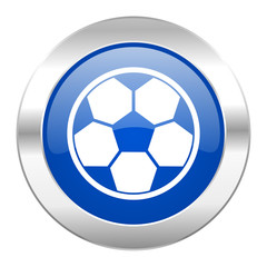 soccer blue circle chrome web icon isolated