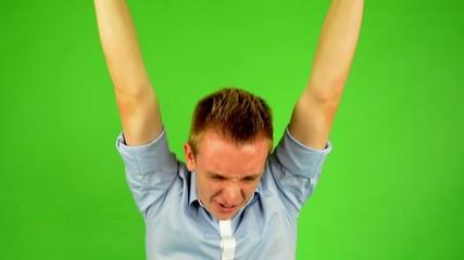 man - green screen - portrait - man rejoices (enjoy)