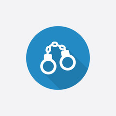 handcuffs Flat Blue Simple Icon with long shadow.