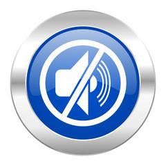 mute blue circle chrome web icon isolated