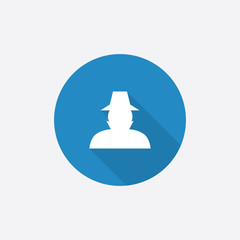 detective Flat Blue Simple Icon with long shadow.