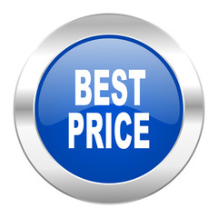 best price blue circle chrome web icon isolated
