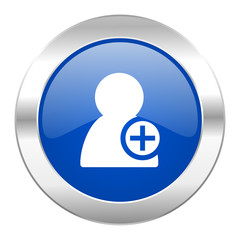 add contact blue circle chrome web icon isolated