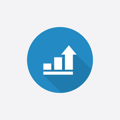 business diagram, chart Flat Blue Simple Icon with long shadow.