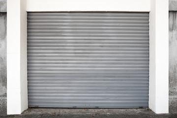 Gray metal garage gate, background photo texture