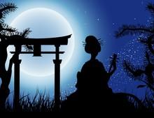 Japoński noc, sylwetka gejsza z Shamisen