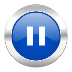 pause blue circle chrome web icon isolated
