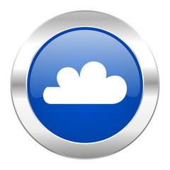 cloud blue circle chrome web icon isolated