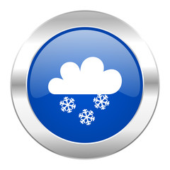 snowing blue circle chrome web icon isolated