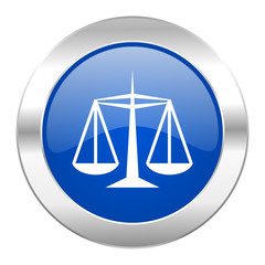 justice blue circle chrome web icon isolated