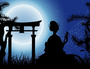 Japanese night, Geisha with Shamisen silhouette