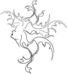 Fantasy girl profile, black stencil