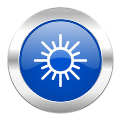 sun blue circle chrome web icon isolated