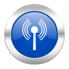 wifi blue circle chrome web icon isolated