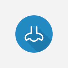 nose Flat Blue Simple Icon with long shadow.