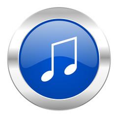 music blue circle chrome web icon isolated