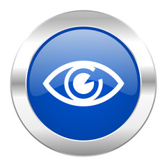 eye blue circle chrome web icon isolated