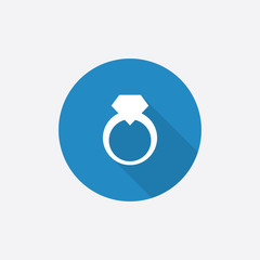 jewelery ring Flat Blue Simple Icon with long shadow.