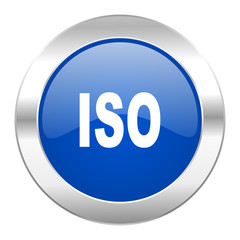 iso blue circle chrome web icon isolated